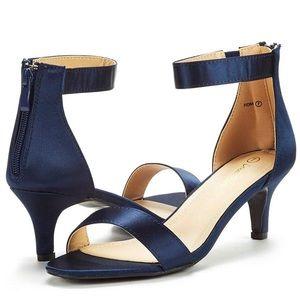 Navy blue satin kitty heel shoes